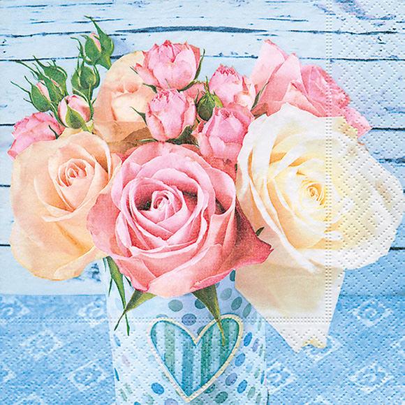 servietten rosen auf blau 200357 ganzjahres servietten. Black Bedroom Furniture Sets. Home Design Ideas
