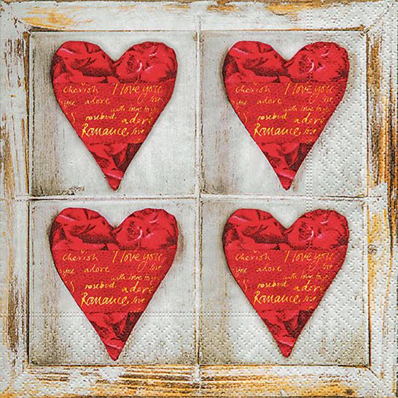 servietten vier herzen four hearts hochzeit liebe schenken 20 st ck ebay. Black Bedroom Furniture Sets. Home Design Ideas