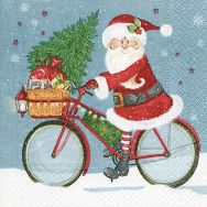 Cocktail napkins - Santa on bike