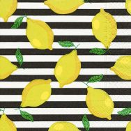 Cocktail napkins - Lemons on stripes
