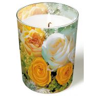 Candle in a glass - Bouquet of roses