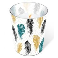 Candle in a glass - Coloured feathers
