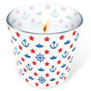 Candle in a glass - Navy white