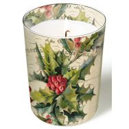 Candle in a glass - Christmas holly