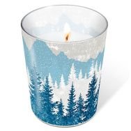 Candle in a glass - Forest silhouette blue