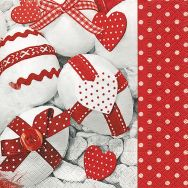 Napkins - Red & white Easter