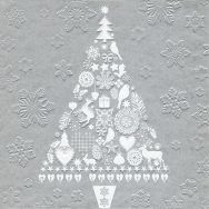 Napkins embossed - My Xmas tree silver