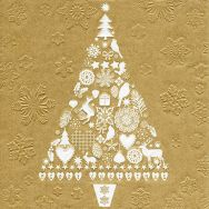Napkins embossed - My Xmas tree gold