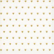 Napkins embossed - Petits coeurs gold