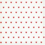 Napkins embossed - Petits coeurs red