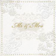 Napkins embossed - Mr. & Mrs. gold