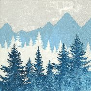 Napkins - Forest silhouette blue