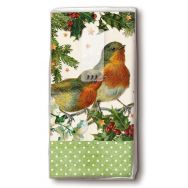 Handkerchiefs - Robins in green