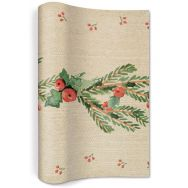 Table runner flax - Mistletoe