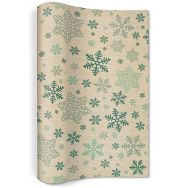 Table runner flax - Snowflakes pattern