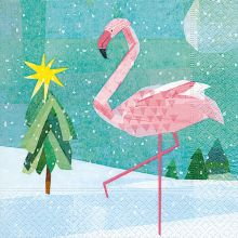 Servietten - Winter Flamingo